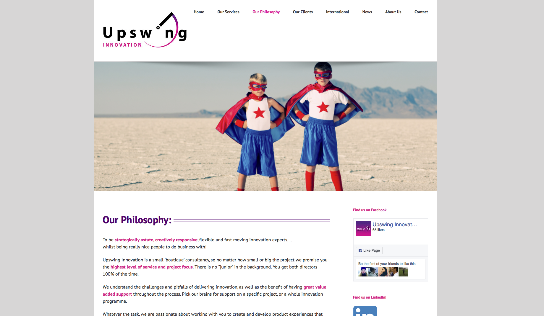 Upswing Philosophy web page design