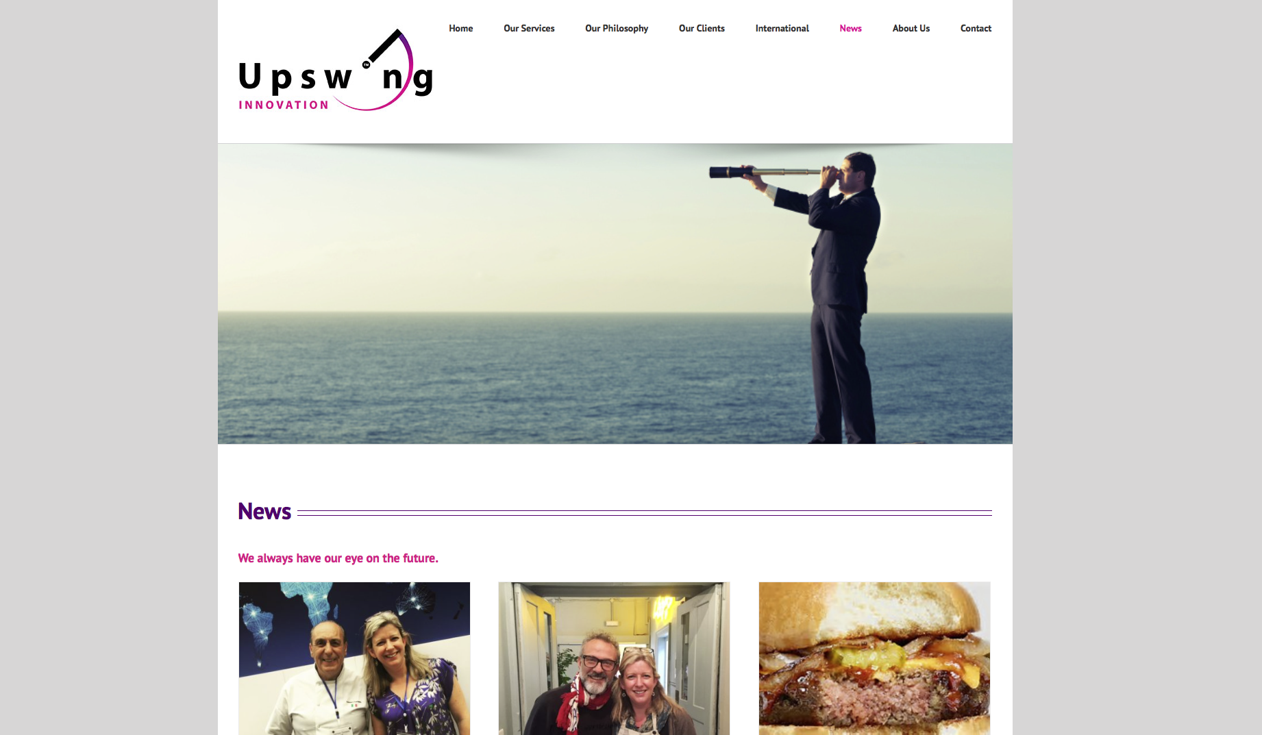 Upswing Innovation News page design