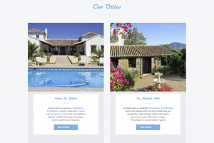 Home page from Loma Holidays website design