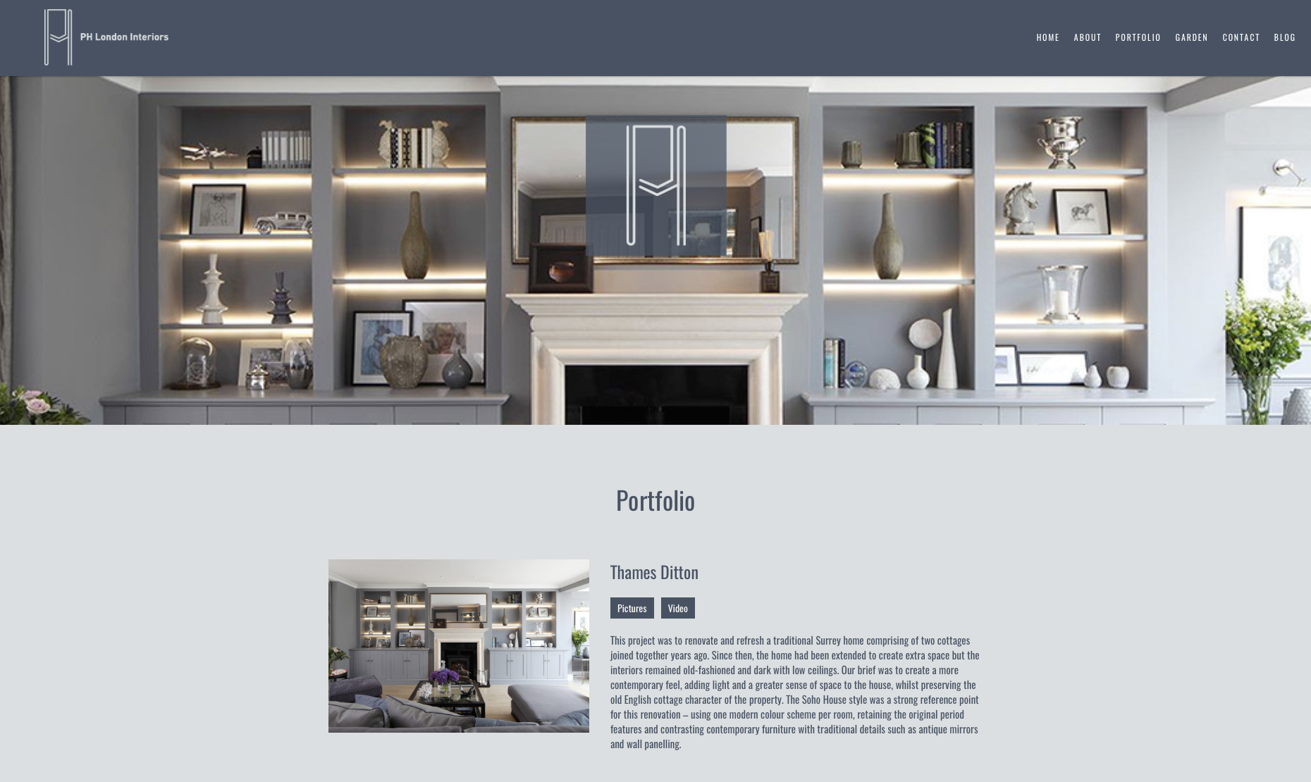 Screenshot of PH London website redesign - Interiors Portfolio Section
