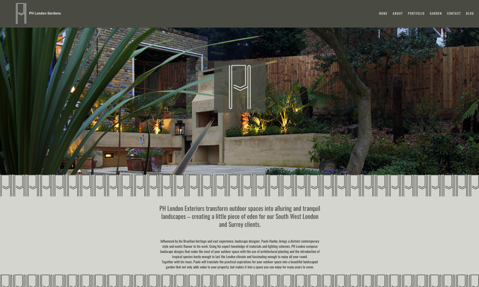 Screenshot of PH London 'Garden' Section' website redesign