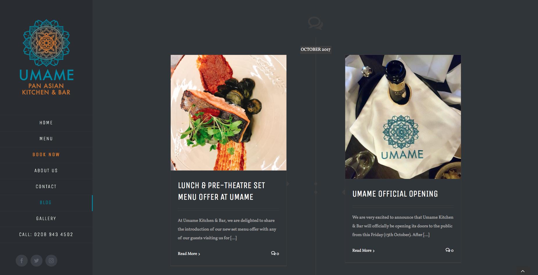 Blog page from UMAME website design