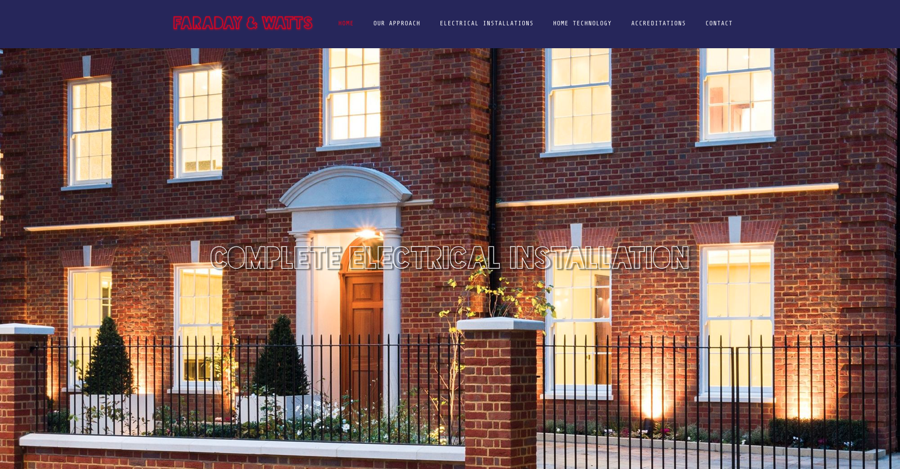 Home page from Faraday and watts website design