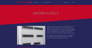 Lighting control page from Faraday and watts website design