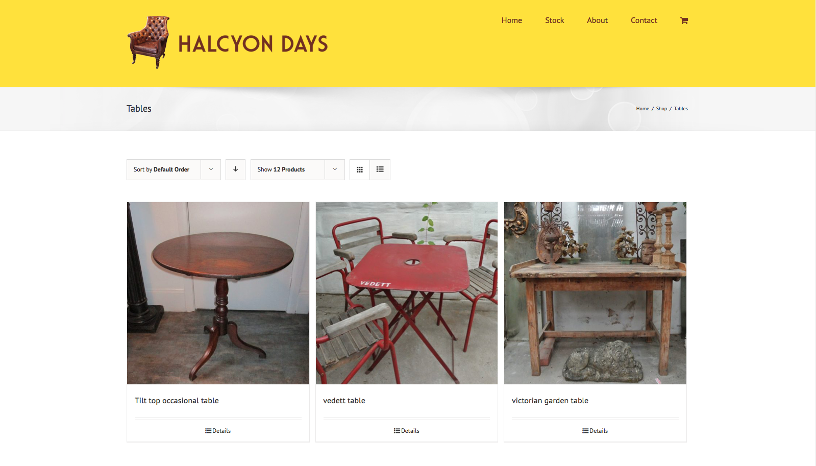 Product page from Halcyon days website design