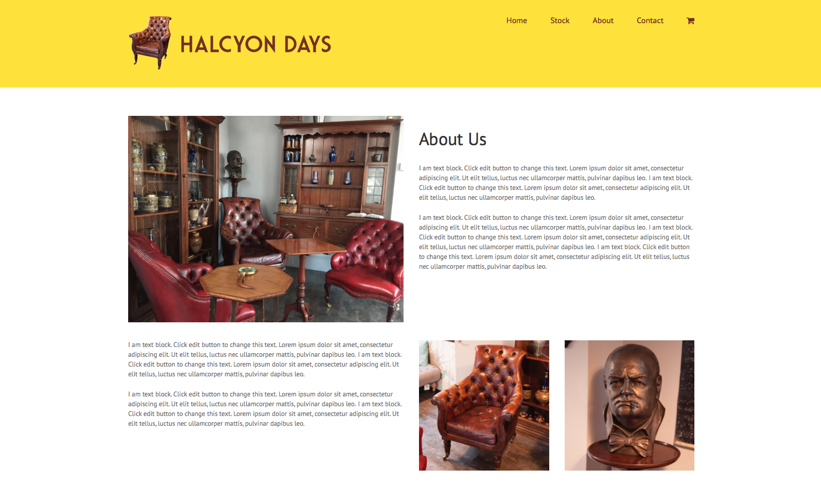 About us page from Halcyon days website design