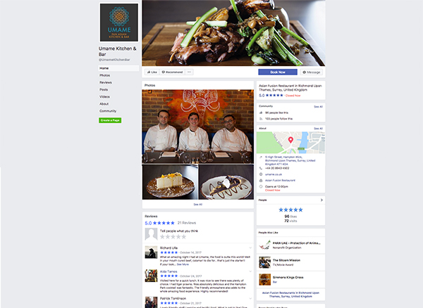 Umame social media - facebook