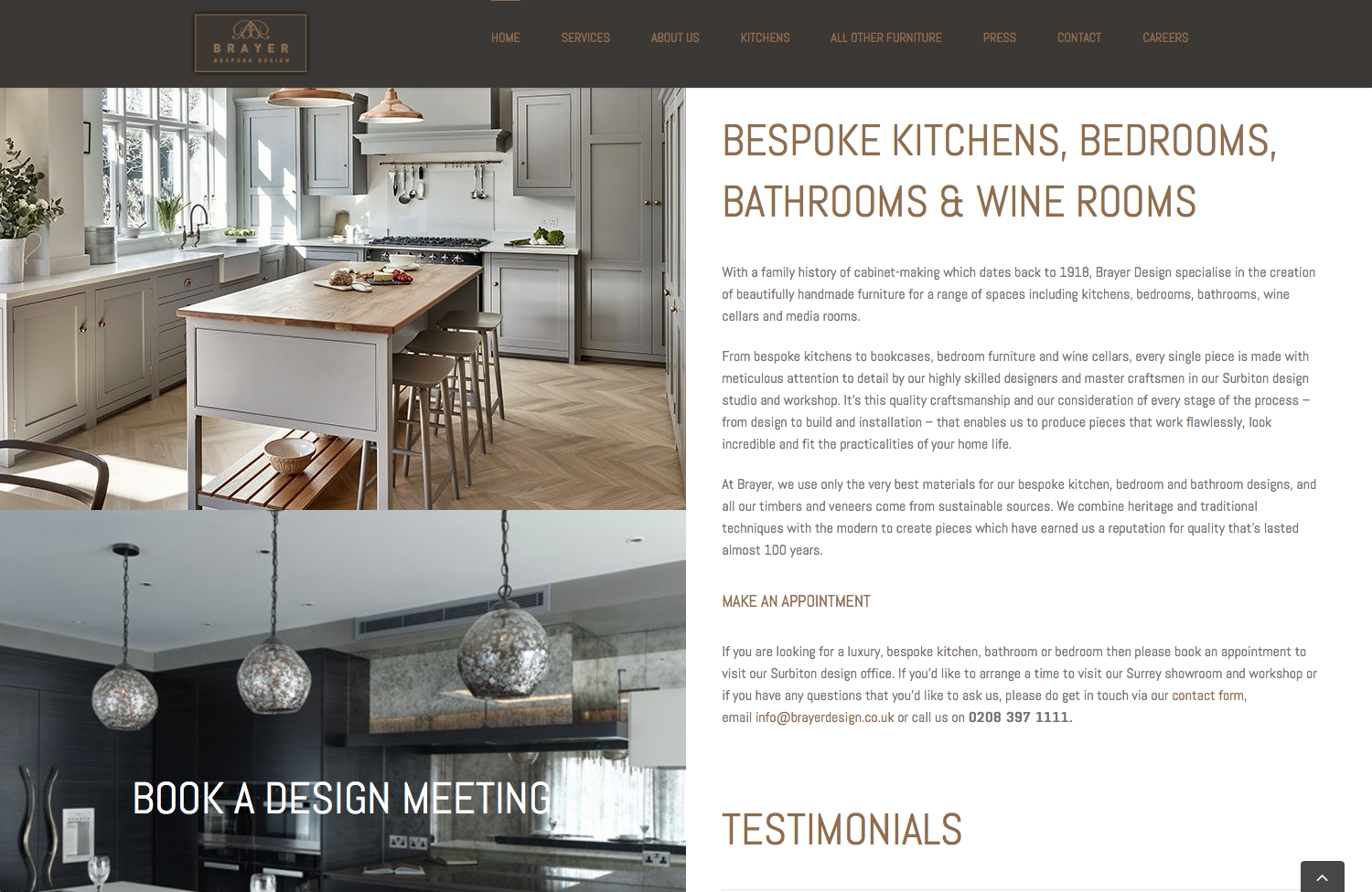 Home page from Brayer website design