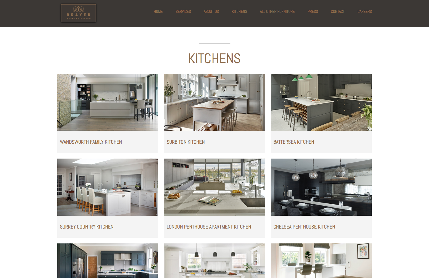 Website Design Kitchen Projects page - Brayer Design