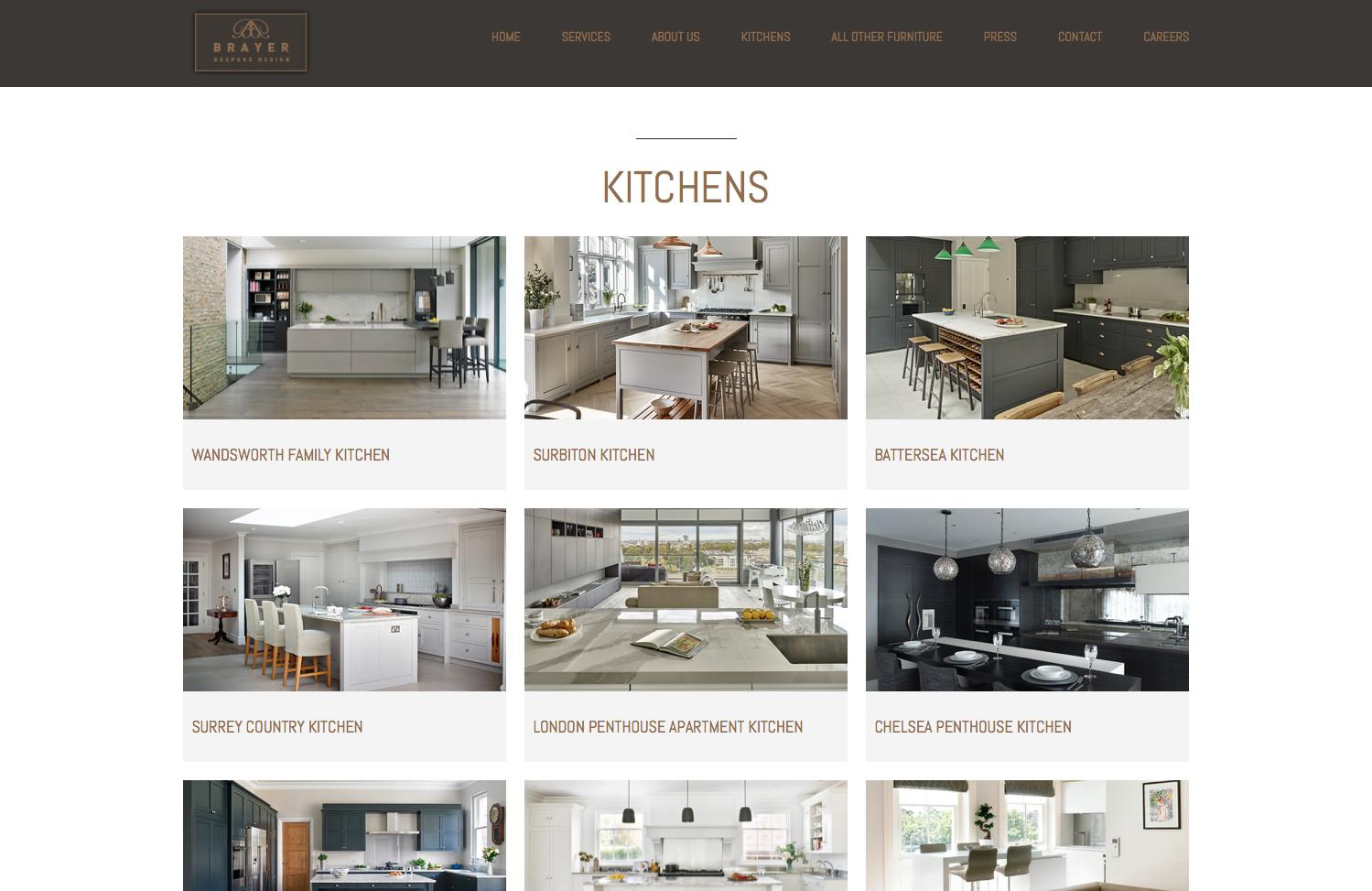 Website Design Kitchen Projects page - Brayer Design