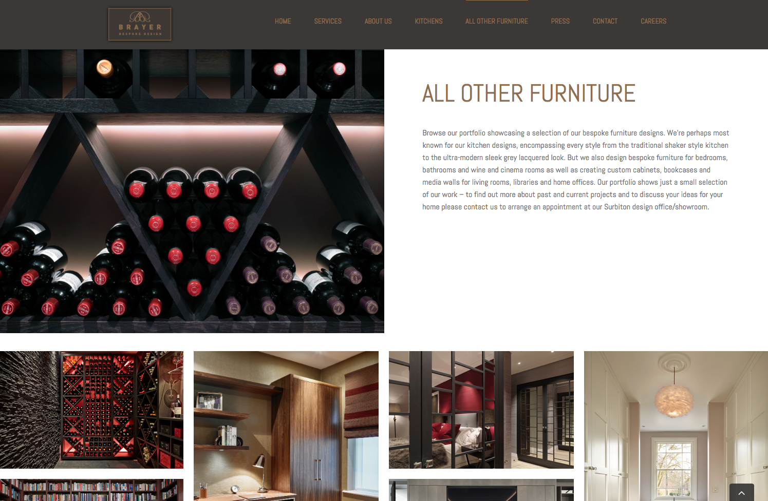 New page for Brayer website redesign - All Other Furniture