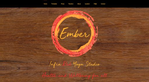 Screenshot of homepage for Ember Yoga (Hampton Hill) website design