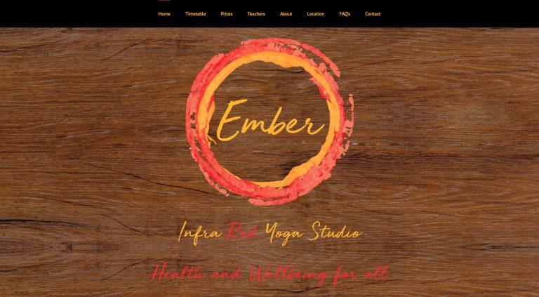 Screenshot of homepage for Ember Yoga (Hampton Hill) website design