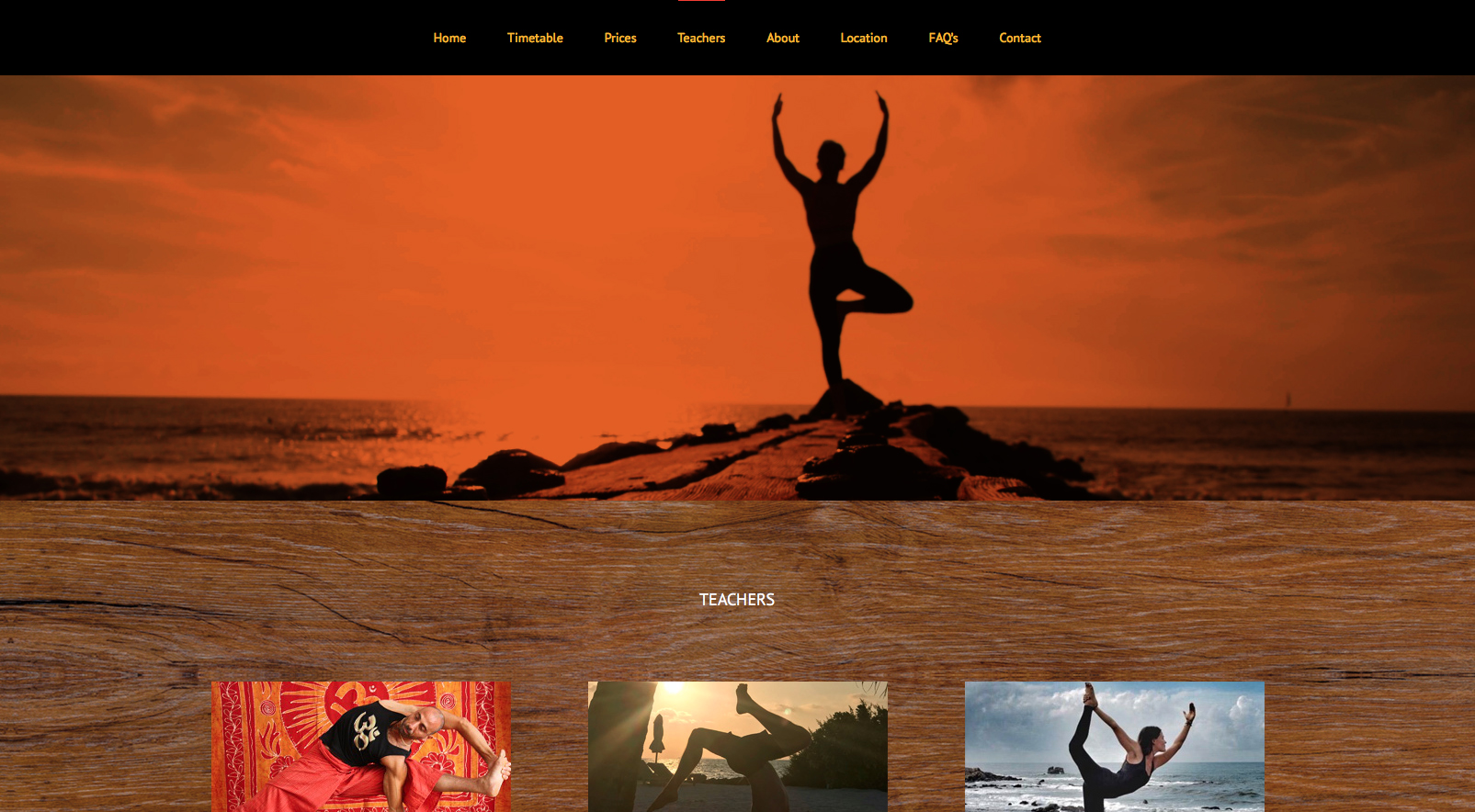 Screenshot of Teachers webpage for Ember Yoga studio website, Hampton Hill