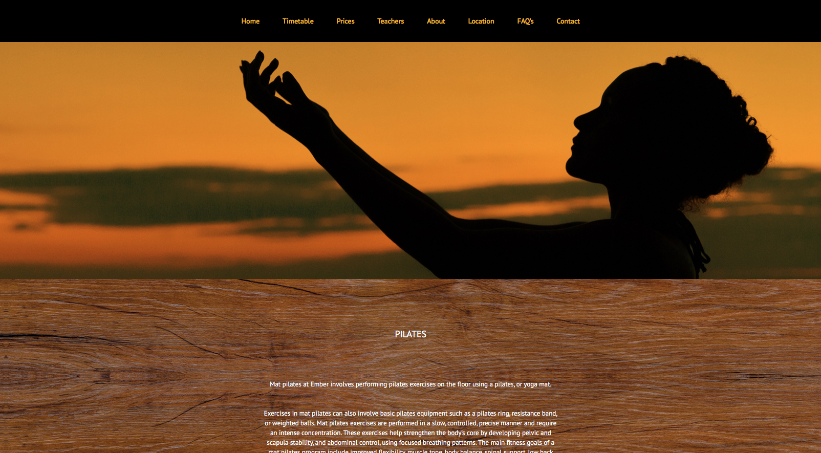 Pilates page screenshot from Ember Yoga website design
