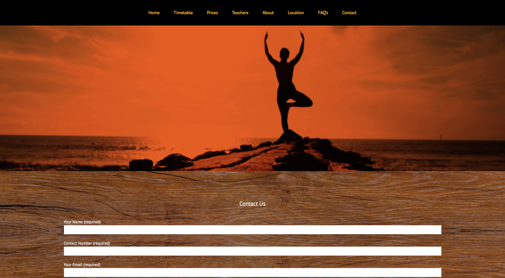 Ember Yoga website - contact form page screenshot