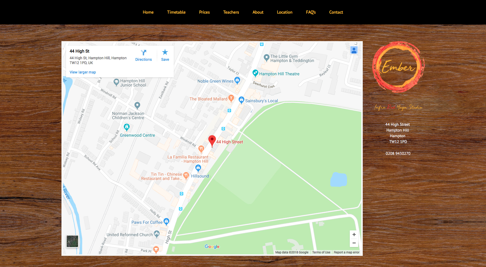 Location page for Ember Yoga website with embedded Google Map