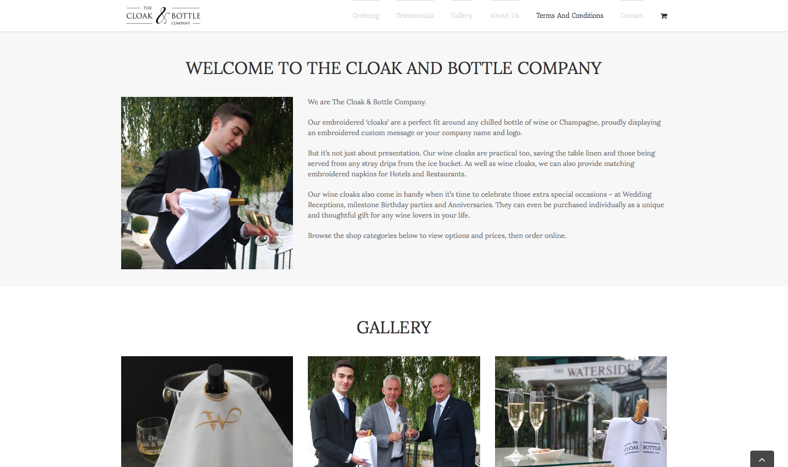 The Cloak And Bottle Company Website - Welcome