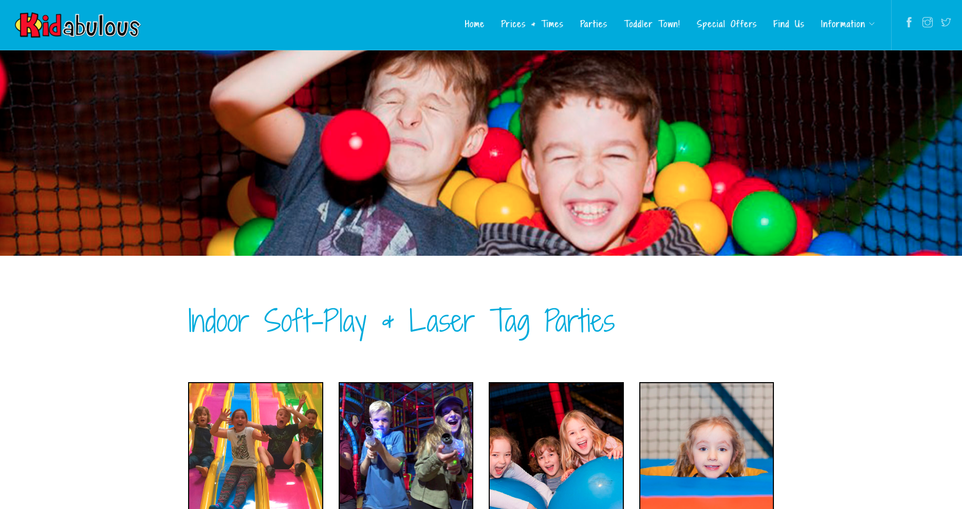 Kidabulous website refresh - Parties Page