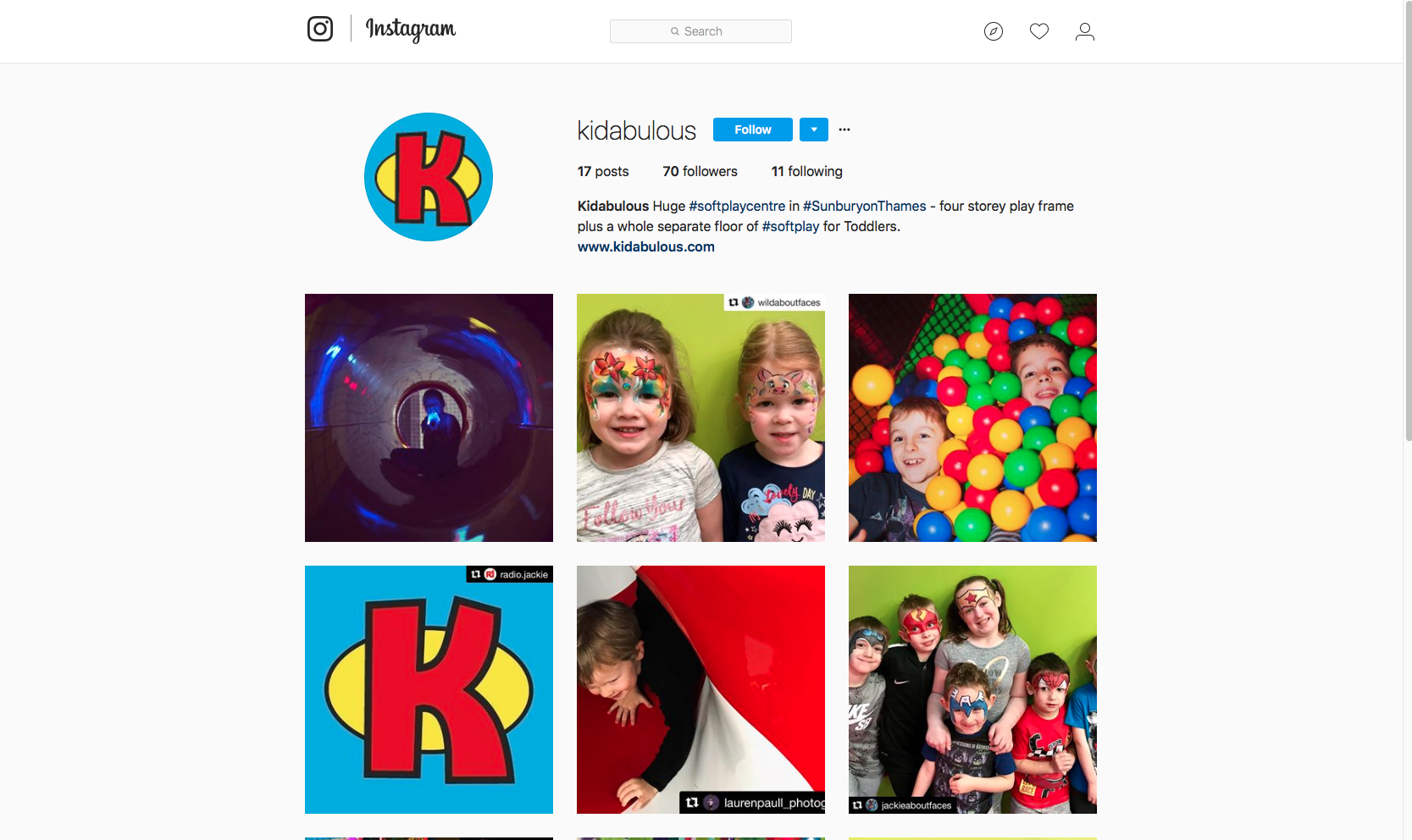 Kidabulous social media - instagram